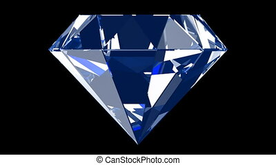 Blue diamond - Rotating isolated on black refracted...