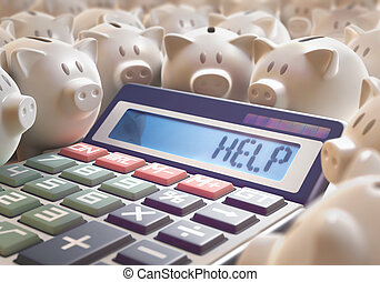 Help Save Money - Solar calculator amid several piggy banks...