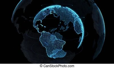 Earth rotating 4k loop of rotating dots stylised world globe with orbits