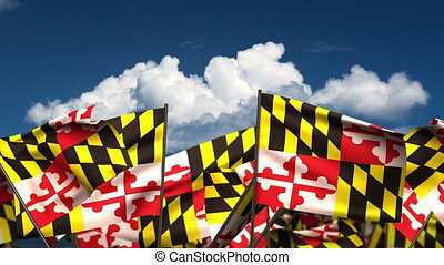 Waving Maryland State Flags (seamless & alpha channel)