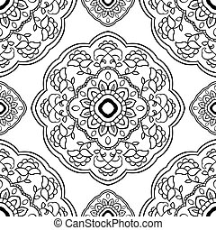 Simple ornament with floral mandalas.