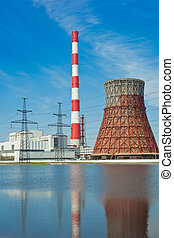 Thermal power station and power line - Thermal power...