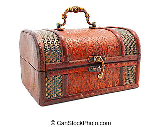 age-old wooden locked trunk isolated