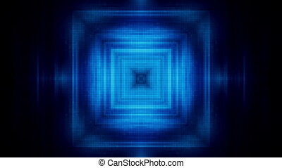 Square tunnel of squares blue loop - Abstract tunnel of...