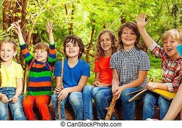 Happy kids having fun in the outdoor summer camp - Portrait...