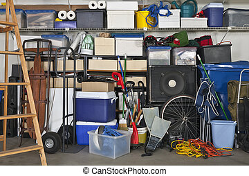 Full Garage - Overloaded suburban garage. Boxes, coolers,...
