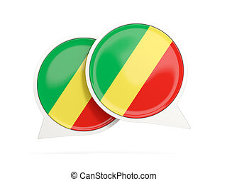 Flag of republic of the congo, round chat icon - Speech...