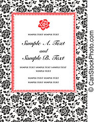 Vector Red Flower Frame - Vector floral frame with sample...