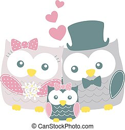 owls family - cute owls couple with daughter islated on whit...