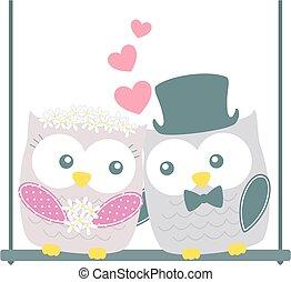 cute wedding owls love