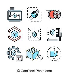 3d graphic icon set color