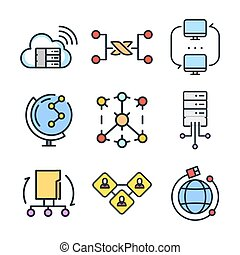 connection icon set color