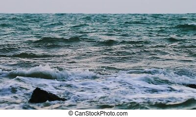 Ocean Waves in Slow Motion - Cinematic scene of a stormy...
