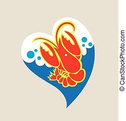 Love Lobster Logo, illustration art vector design