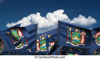 Waving New York State Flags