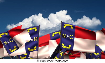 Waving North Carolina State Flags (seamless & alpha channel)