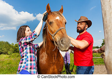 Happy young couple brushing mane of their horse - Happy...