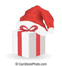 gift box with santa claus hat