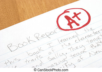 Book Report - A handwritten book report is given an A plus...