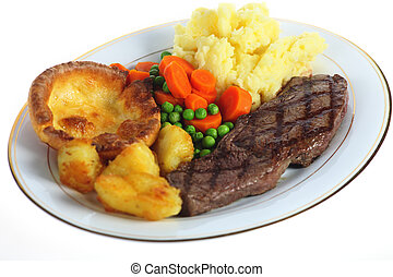 Steak dinner isolated - A traditional pub-grub style British...