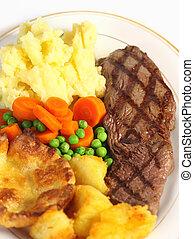 Steak dinner from above