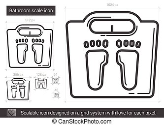 Bathroom scale line icon. - Bathroom scale vector line icon...