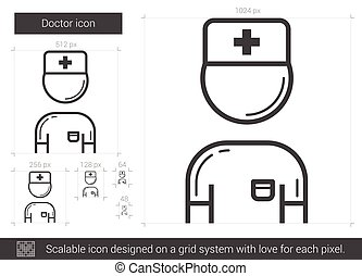 Doctor line icon. - Doctor vector line icon isolated on...