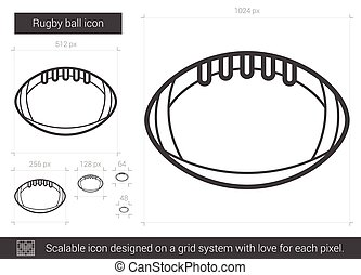 Rugby ball line icon. - Rugby ball vector line icon isolated...