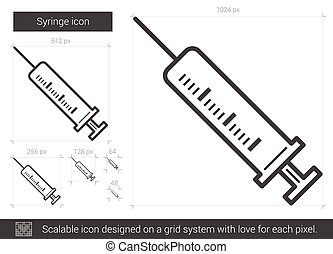 Syringe line icon. - Syringe vector line icon isolated on...
