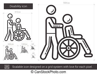 Disability line icon. - Disability vector line icon isolated...