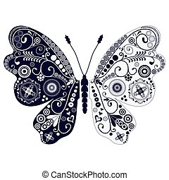 Vintage two-tone butterfly over white - Vintage two-tone...