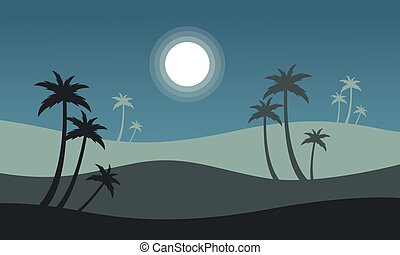 At night seaside scenery with palm vector illustration