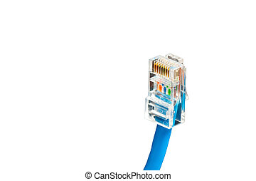 Blue computer ethernet cable isolated on white background,...