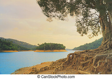 the sunset of  Shing Mun Reservoir