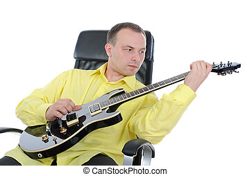 man with a black guitar Isolated on white background