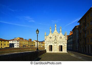 Pisa, Santa Maria della Spina small church, Arno river...