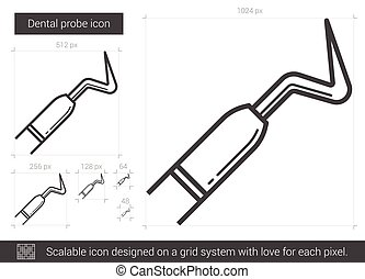 Dental probe line icon. - Dental probe vector line icon...