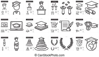 Education line icon set. - Education line icon set for...