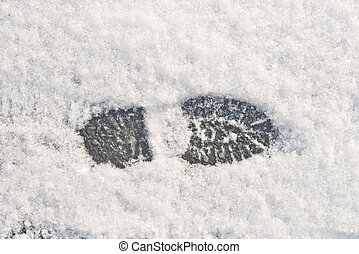 foot print in the snow