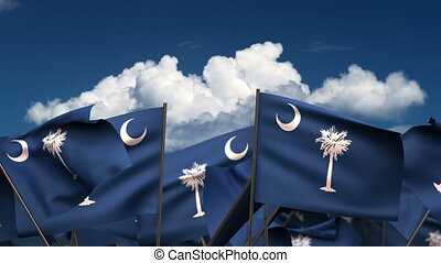 Waving South Carolina State Flags (seamless & alpha channel)