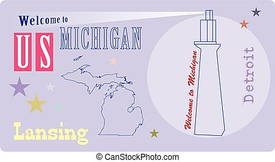 Banner Michigan with lighthouse - Banner for Michigan State...