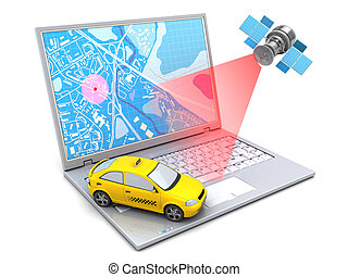 taxi tracking - 3d illustration of taxi location tracking...