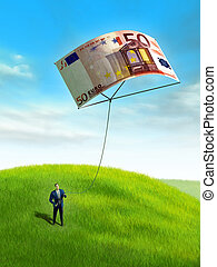 Businessman playing with a 50 euro bill used as a kite....