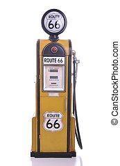 Antique fuel pump - copy of a yellow vintage route 66 fuel...