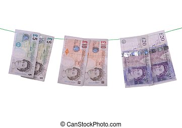 Money laundering - money laundering concept with pound notes...