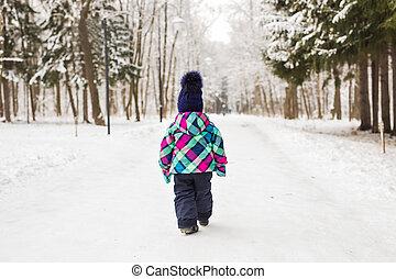 marche, hiver, loin, forêt, enfant, jour