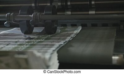 Printing Process on polygraph industry - brochures moving on...