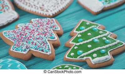 Treats on the Christmas tree. Home Christmas baking. -...