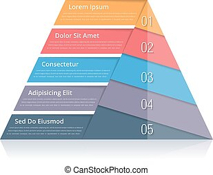 Pyramid Chart - Pyramid chart with five elements with...