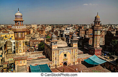 Wazir Khan Mosque, Lahore, Pakistan - Panorama of Wazir Khan...